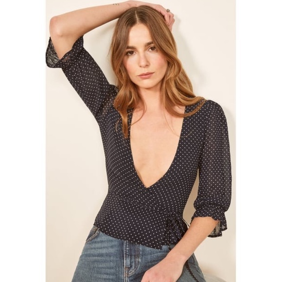 Reformation Tops - Reformation Polka Dot Wrap Top